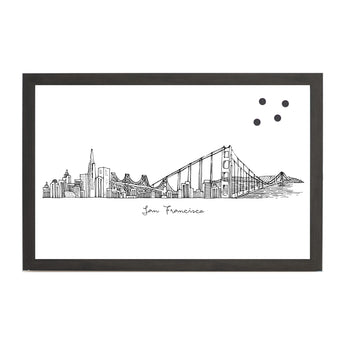 Petal Lane Home Line Drawn Cityscape San Francisco Magnet Board