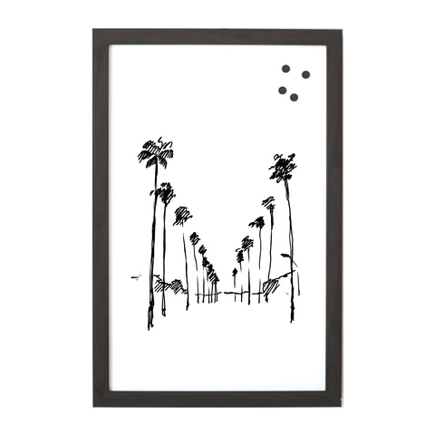 NEW Coastal Palm Way Line Drawing Magnet Board