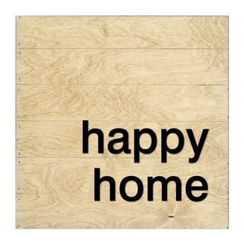 Petal Lane Home Real Wood Happy Home Slat Board with Raised Lettering