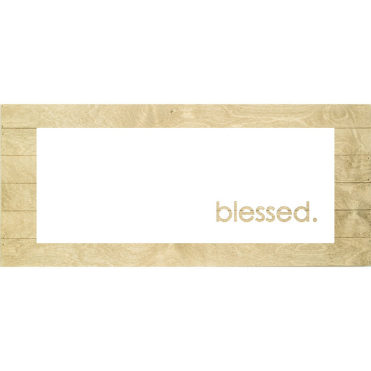 Petal Lane Home Real Wood Blessed Inverted Cut-Out Slat Board with Driftwood Slats and a White Panel