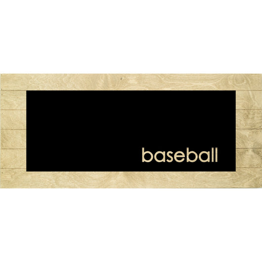 Petal Lane Home Real Wood Baseball Inverted Cut-Out Slat Board with Driftwood Slats and a Ebony Panel
