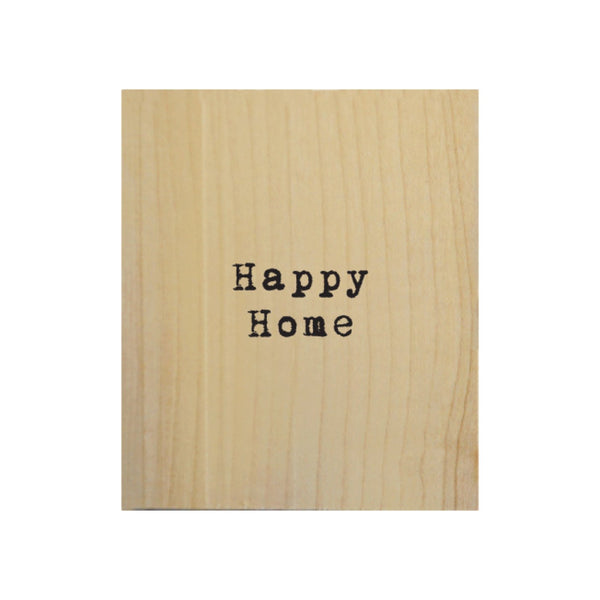 Screen Printed Happy Home Real Wood Natural Tile Magnet