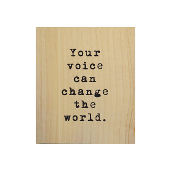 Petal Lane Home Screen Printed Your Voice Can Change the World Real Wood Natural Tile Magnet Perfect for Fridge and Magnet Board