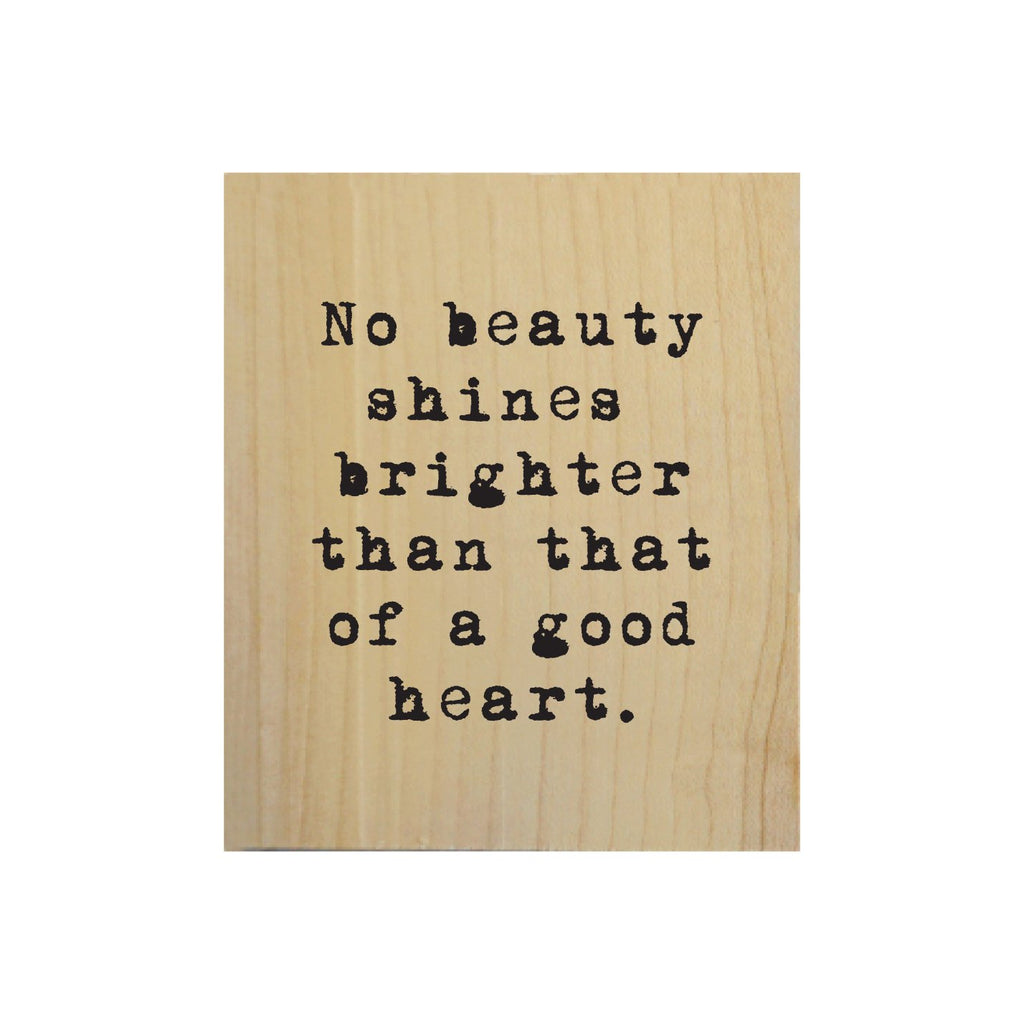 Screen Printed No Beauty Shines Brighter Real Wood Natural Tile Magnet
