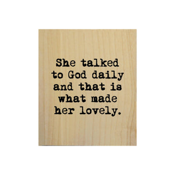Petal Lane Home Screen Printed She Talked to God Daily Real Wood Natural Tile Magnet Perfect for Fridge and Magnet Board