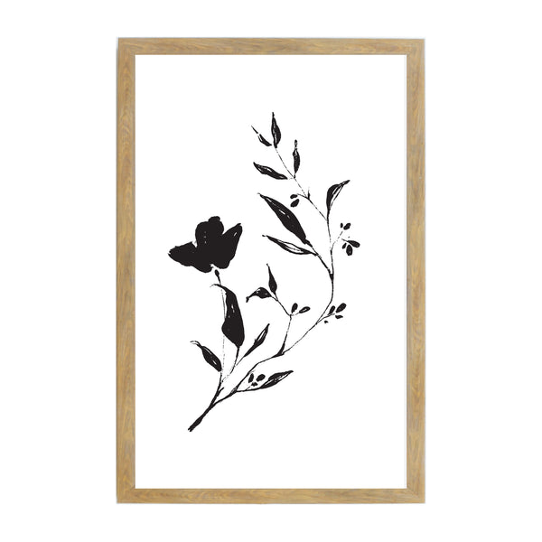 Rustic Brown B & W Ink Flower Branch