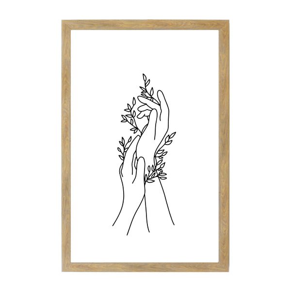 Rustic Brown Hand Leaves Line Drawing