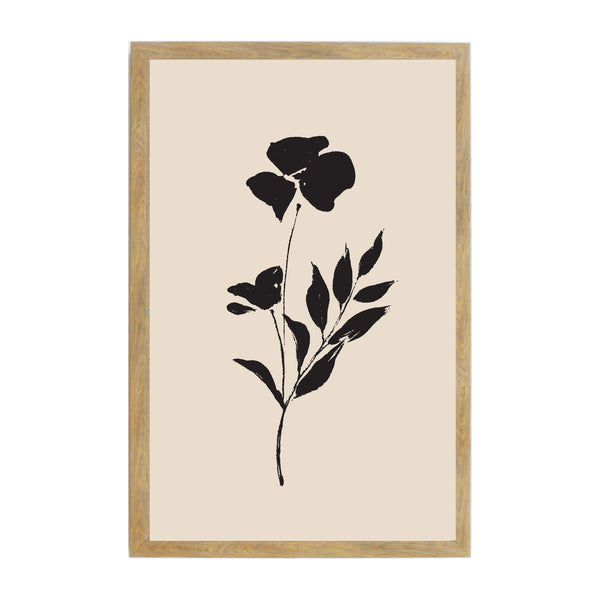 Rustic Brown Tan Ink Flowers