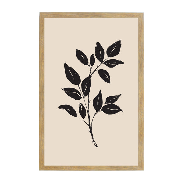 Rustic Brown Tan Ink Leaves