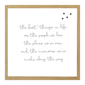 Petal Lane Home Rustic Brown Framed Magnet Board with a Quote about the Best Things in Life
