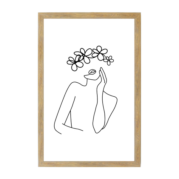 Rustic Brown Woman Flower Line Drawing