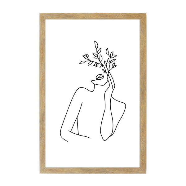 Rustic Brown Woman Leaves Line Drawing