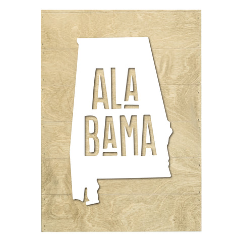 Real Wood Alabama State Slat Board with Raised Silhouette and Lettering
