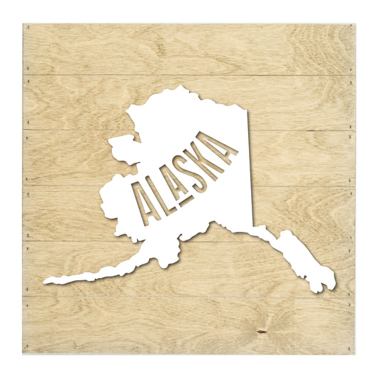 Petal Lane Home Real Wood Alaska State Slat Board with Black Raised Silhouette on Driftwood