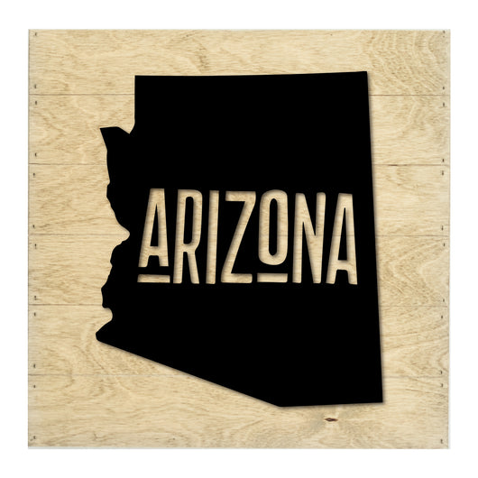 Petal Lane Home Real Wood Arizona State Slat Board with Black Raised Silhouette