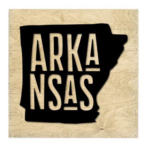 Real Wood Arkansas State Slat Board with Raised Silhouette and Lettering