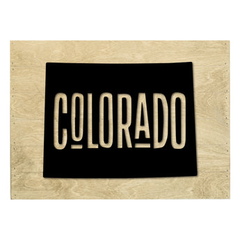 Petal Lane Home Real Wood Colorado State Slat Board with Raised White Silhouette on Driftwood
