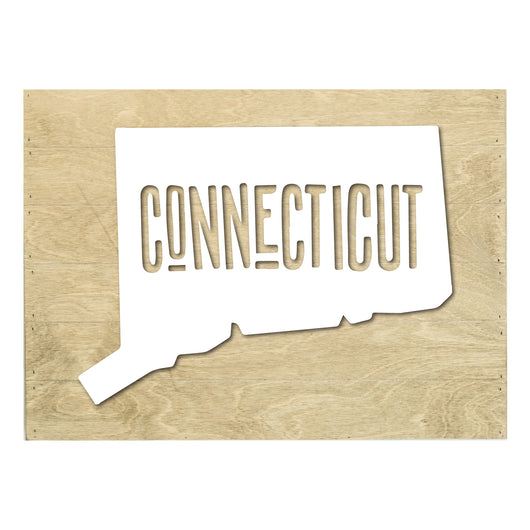 Petal Lane Home Real Wood Connecticut State Slat Board with raised white Silhouette on Driftwood