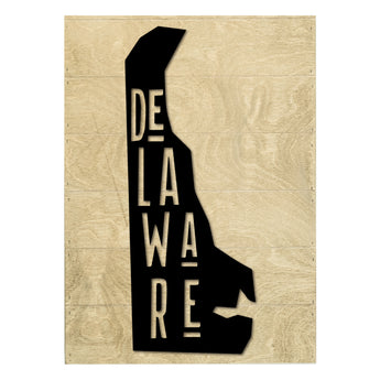 Petal Lane Home Real Wood Delaware State Slat Board with Raised White Silhouette on Driftwood