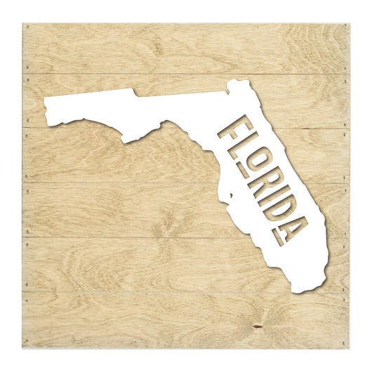 Petal Lane Home Real Wood Florida State Slat Board with Black Silhouette on Driftwood