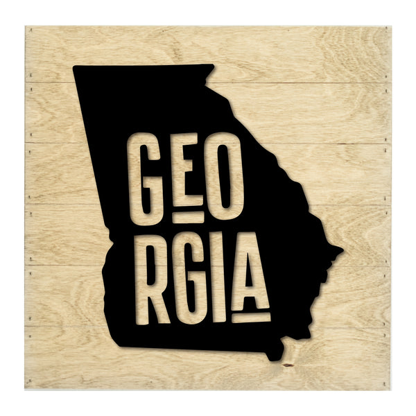 Real Wood Georgia State Slat Board with Raised Silhouette and Lettering