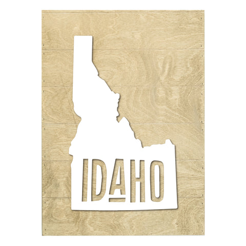 Real Wood Idaho State Slat Board with Raised Silhouette and Lettering