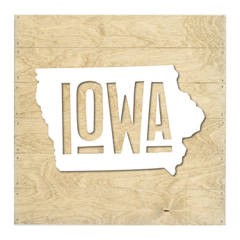 Petal Lane Home Real Wood Iowa State Slat Board with Raised White Silhouette on Driftwood