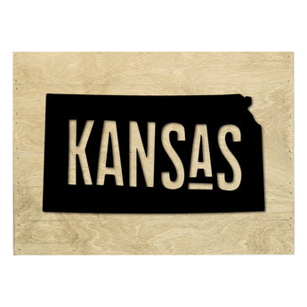 Petal Lane Home Real Wood Kansas State Slat Board with White Raised Silhouette on Driftwood