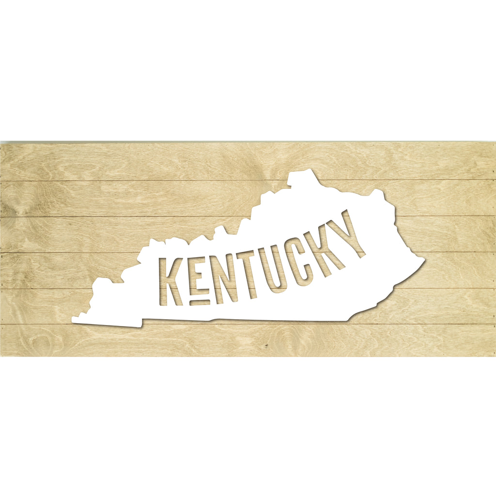 Real Wood Kentucky State Slat Board with Raised Silhouette and Lettering