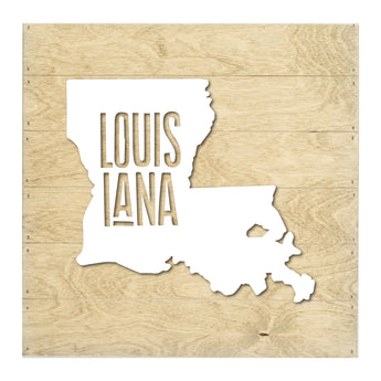 Petal Lane Home Real Wood Louisiana State Slat Board with Raised Black Silhouette on Driftwood