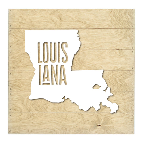 Real Wood Louisiana State Slat Board with Raised Silhouette and Lettering