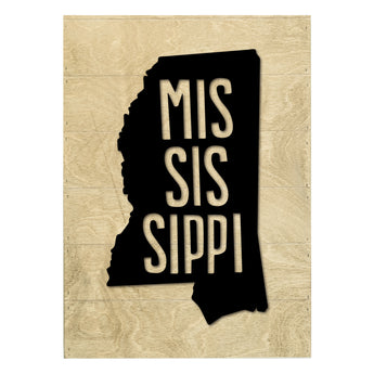 Petal Lane Home Real Wood Mississippi State Slat Board with White Raised Silhouette on Driftwood