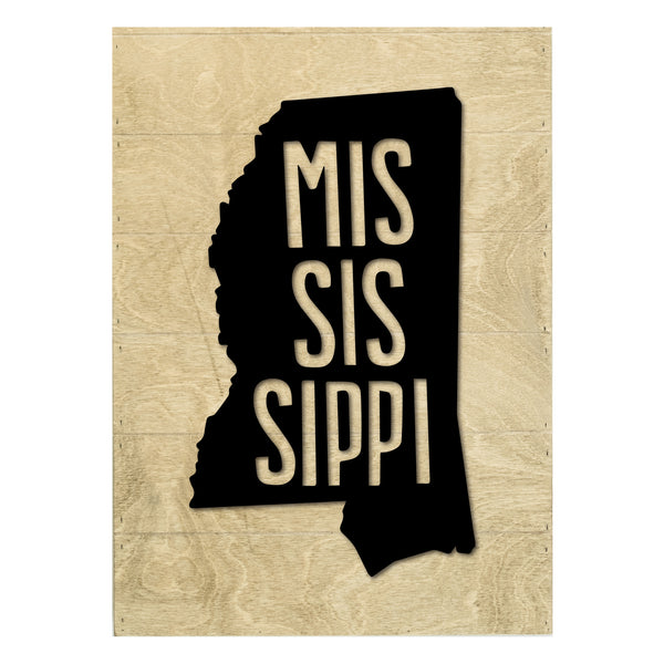 Real Wood Mississippi State Slat Board with Raised Silhouette and Lettering