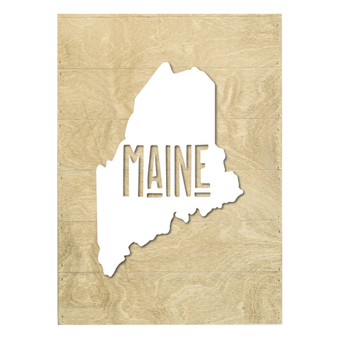 Real Wood Maine State Slat Board with Raised Silhouette and Lettering