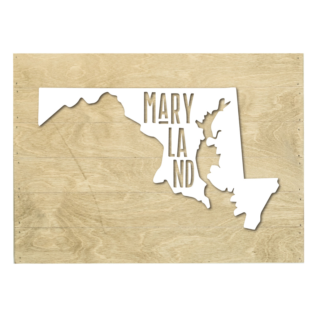Real Wood Maryland State Slat Board with Raised Silhouette and Lettering