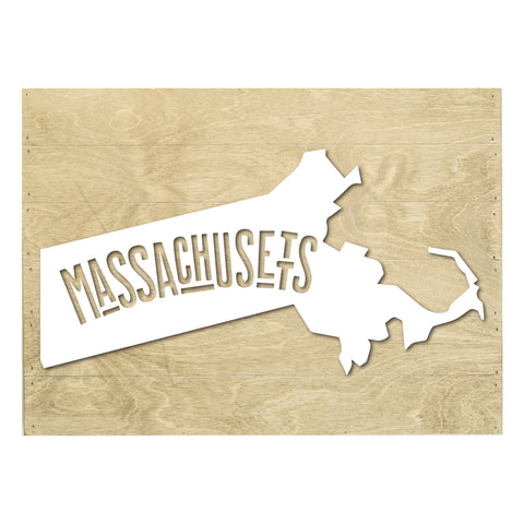 Real Wood Massachusetts State Slat Board with Raised Silhouette and Lettering