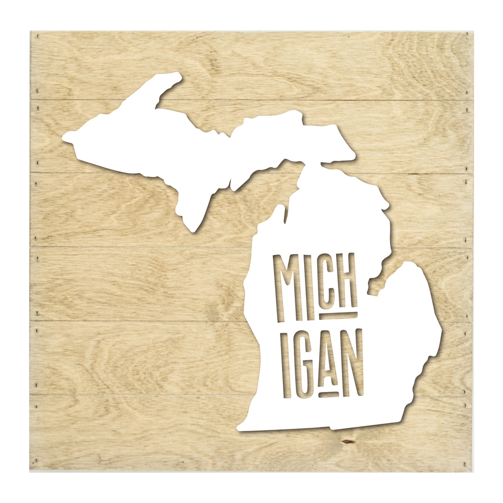 Real Wood Michigan State Slat Board with Raised Silhouette and Lettering