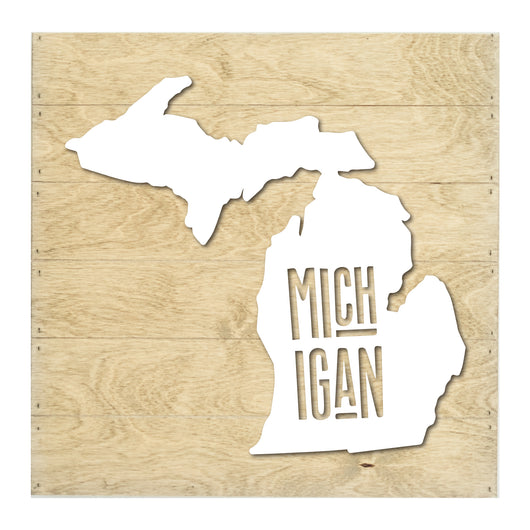 Petal Lane Home Real Wood Michigan State Slat Board with Raised White Silhouette on Driftwood