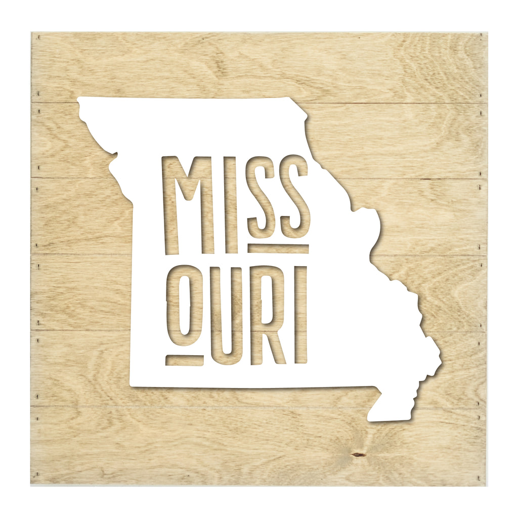 Real Wood Missouri State Slat Board with Raised Silhouette and Lettering