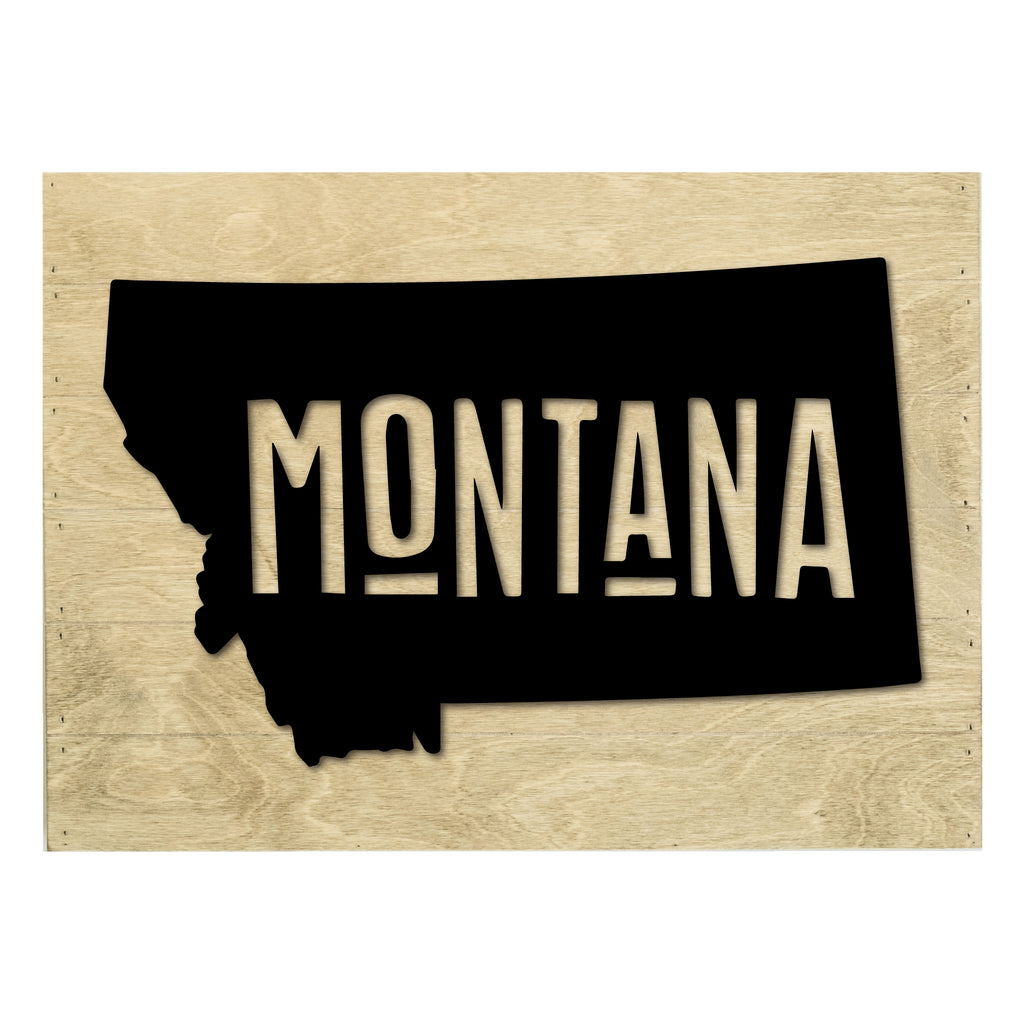 Real Wood Montana State Slat Board with Raised Silhouette and Lettering