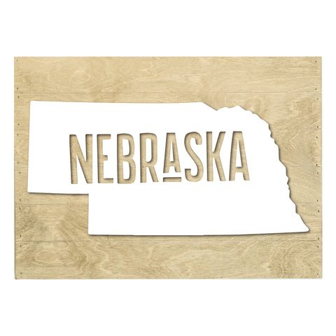 Real Wood Nebraska State Slat Board with Raised Silhouette and Lettering