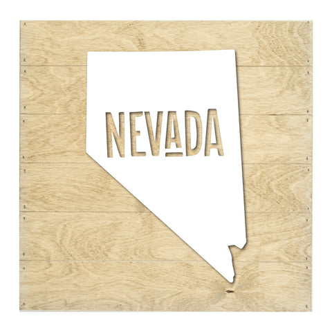 Real Wood Nevada State Slat Board with Raised Silhouette and Lettering