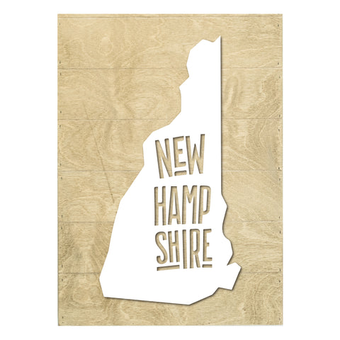 New Real Wood New Hampshire State Slat Board with Raised Silhouette and Lettering