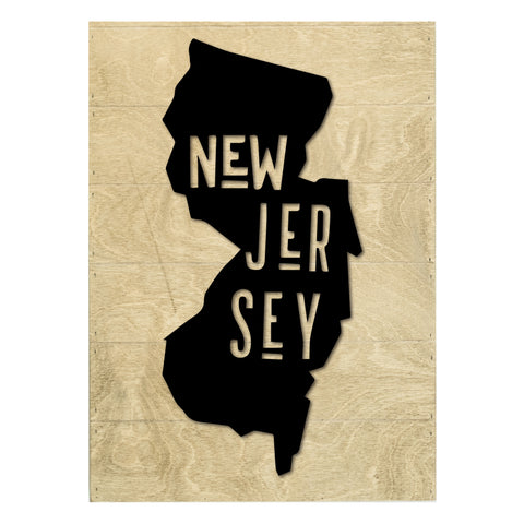 Real Wood New Jersey State Slat Board with Raised Silhouette and Lettering
