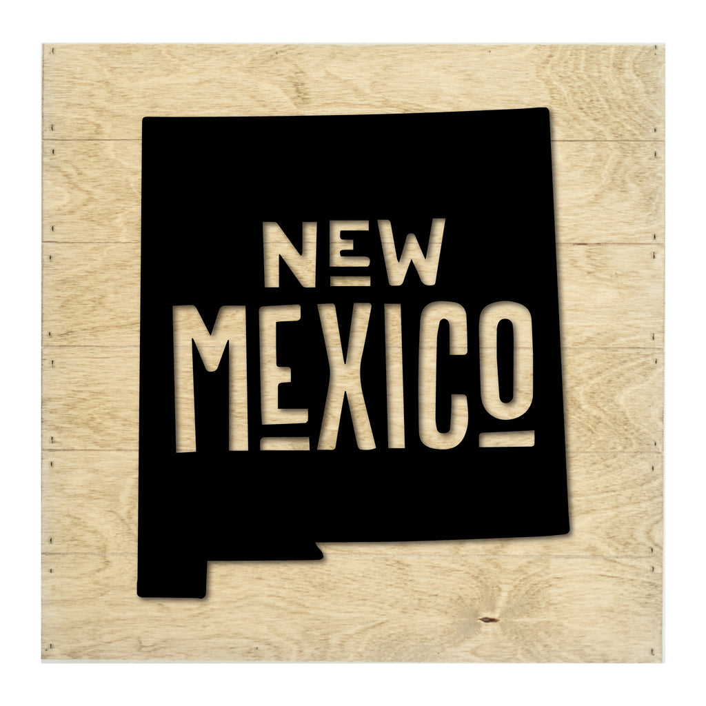 Real Wood New Mexico State Slat Board with Raised Silhouette and Lettering