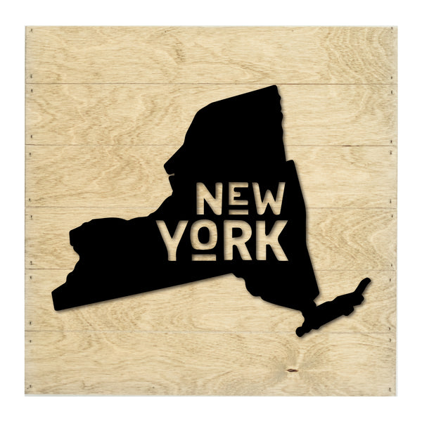 New Real Wood New York State Slat Board with Raised Silhouette and Lettering
