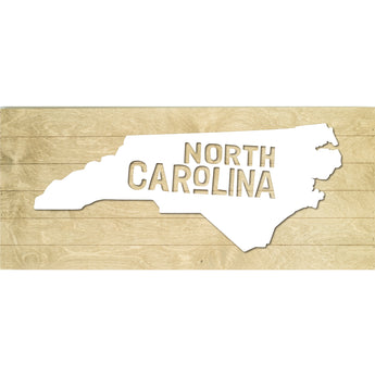 Petal Lane Home North Carolina State Slat Board with Black Raised Silhouette on Driftwood