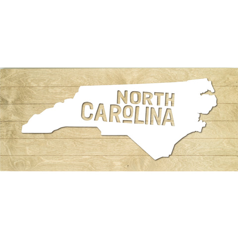 Real Wood North Carolina State Slat Board with Raised Silhouette and Lettering