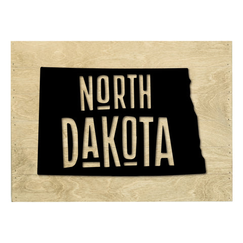 Real Wood North Dakota State Slat Board with Raised Silhouette and Lettering
