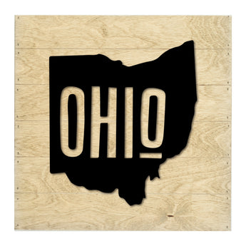 Petal Lane Home Real Wood Ohio State Slat Board with Black Silhouette on Driftwood